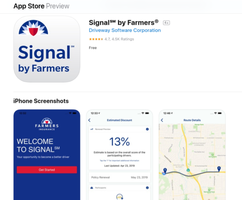 Screenshot of Signal by Farmers on iOS store