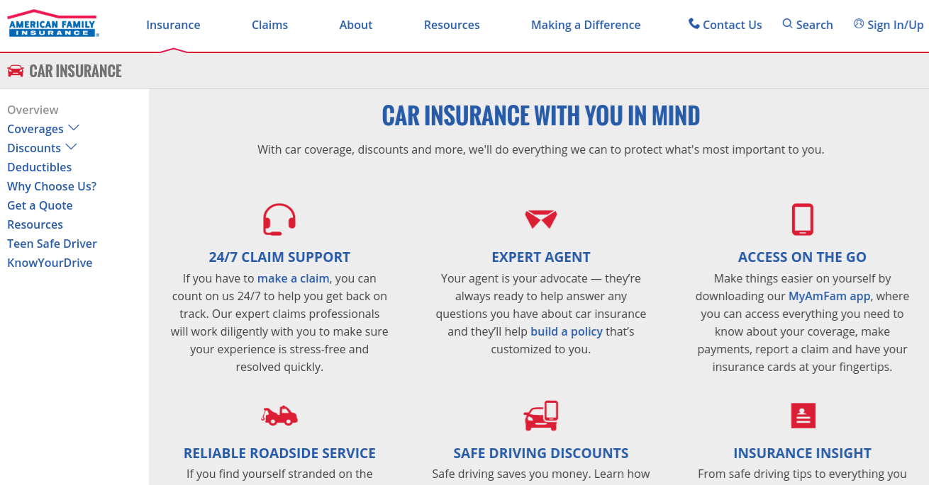 American Family Car Insurance Page