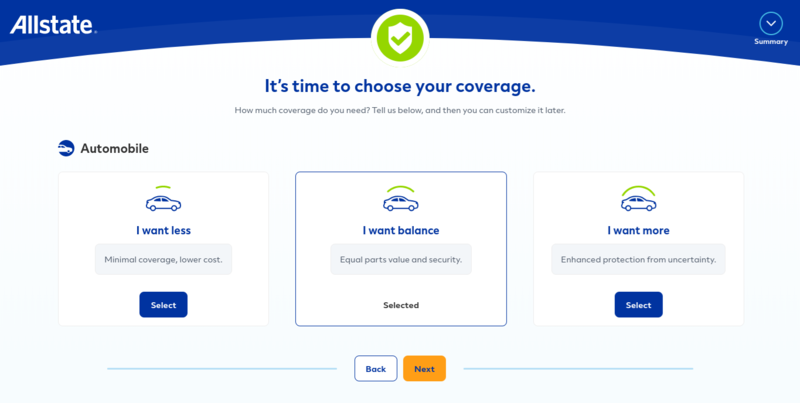 Allstate Get a Quote Coverage Level Options