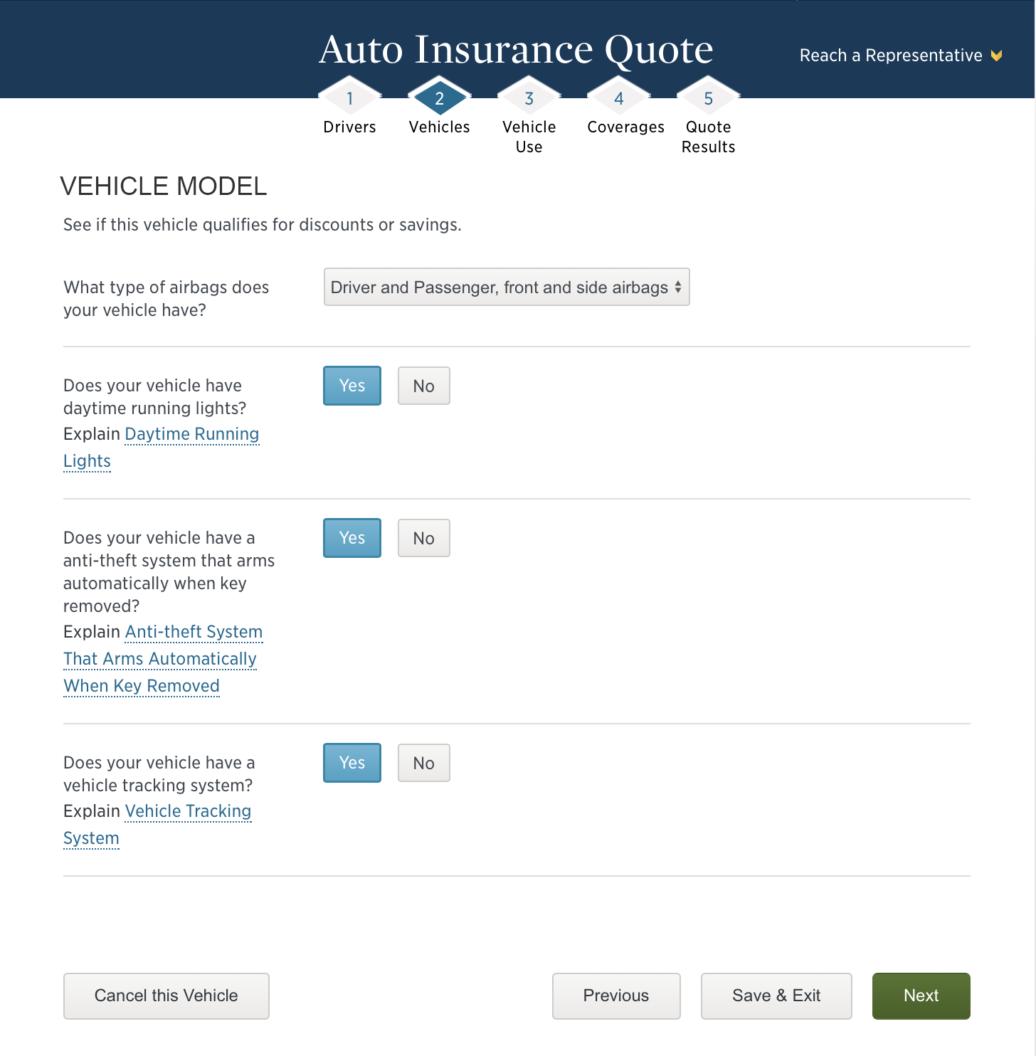 USAA Car Insurance Quote Questions